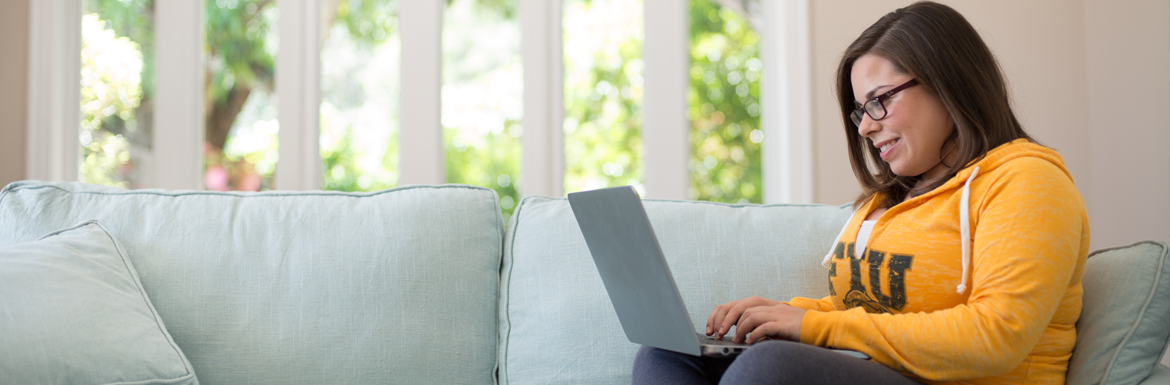 Generic Banner. Girl on couch with a laptop.