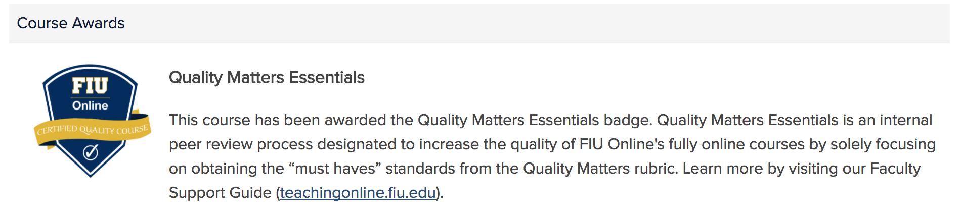 Quality Matters Essentials Qme Fiuonline